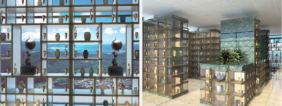 See-through Glass-front Niches and Indoor Columbarium by CMC