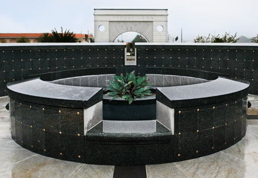 Custom Curved Outdoor Columbarium with Water Feature by CMC