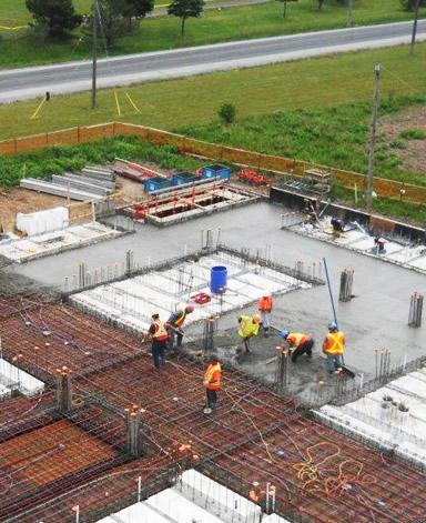 CMC pouring a mausoleum foundation